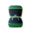 green velvet opened gift box and ring with vector image
