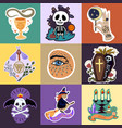 halloween stickers set vector image vector image