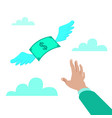 hand reaching for money vector image vector image