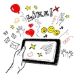 Hand touchscreen sketch social vector image vector image