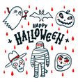 happy halloween card cartoon pumpkins mummy bat vector image