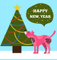happy new years placard with tree and puppy icons vector image vector image