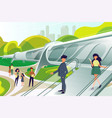 hyperloop station with people vector image vector image