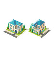 isometric set beige house vector image vector image