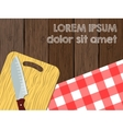 Kitchen logo blank knife on cutting board the vector image