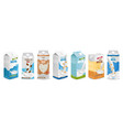 milk boxes set realistic collection of vector image vector image