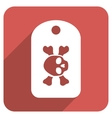 Morgue Tag Flat Rounded Square Icon with Long vector image vector image