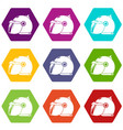 motorcycle helmet scooter icons set 9 vector image vector image