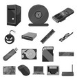 personal computer monochrome icons in set vector image vector image