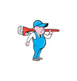 Plumber Holding Big Monkey Wrench Cartoon vector image vector image