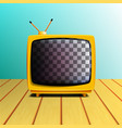 retro old tv set on wooden table vector image