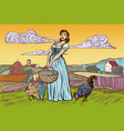 rural woman with chicken eggs farm landscape vector image