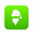 santa claus hat and beard icon digital green vector image