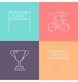 set 4 cycling race linear icons vector image vector image