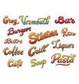 set of menu title vector image vector image