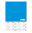 Simple 2018 year calendar vector image vector image