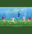 soccer player in action on stadium background vector image vector image