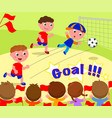 soccer player scoring a goal vector image vector image