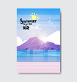 summe beach mountain sunrise badge design label vector image