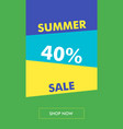 summer sale vertical banner with oblique back vector image vector image