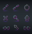 technology icons and signs in modern neon style vector image vector image