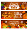 thanksgiving banner set with turkey cornucopia vector image vector image