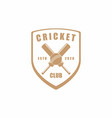 vintage retro cricket emblem badge sport club vector image