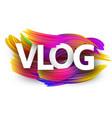 vlog sign with colorful brush strokes vector image