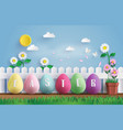 easter day with egg in grass vector image