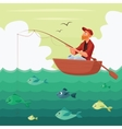 Fisherman sitting in the boat vector image