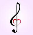 Shiny heart treble clef vector image