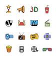 cinema comics icons set cartoon vector image