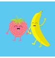 Banana and strawberry Happy fruit set Smiling face