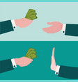 banners with hand giving money vector image vector image