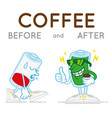 batteri before and after coffe vector image vector image