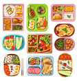 boxed lunches set vector image vector image