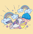 boy and unicorn cute cartoons vector image vector image