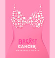breast cancer month poster pink flower brassiere vector image vector image