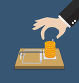 Businessman hand pick money from mousetrap vector image