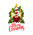 christmas holiday candle and holly branch icon vector image vector image