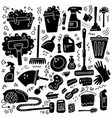 cleaning tools set black signs of vector image