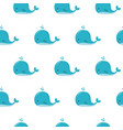 cute background with cartoon blue whales kawaii vector image vector image