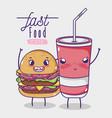 cute fast food kawaii cartoon vector image vector image