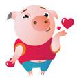 cute piglet sending air kiss vector image