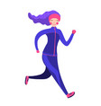 cute running woman in winter gear vector image