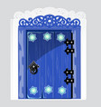 entrance blue wooden door with patterns snowflake vector image vector image