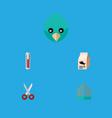 flat icon pets set of bird prison sparrow shears vector image vector image