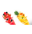 fruit in juice splashes strawberry raspberry vector image vector image