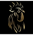 golden template for the logo with Rooster vector image vector image