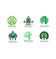 green tree logo original set abstract labels for vector image